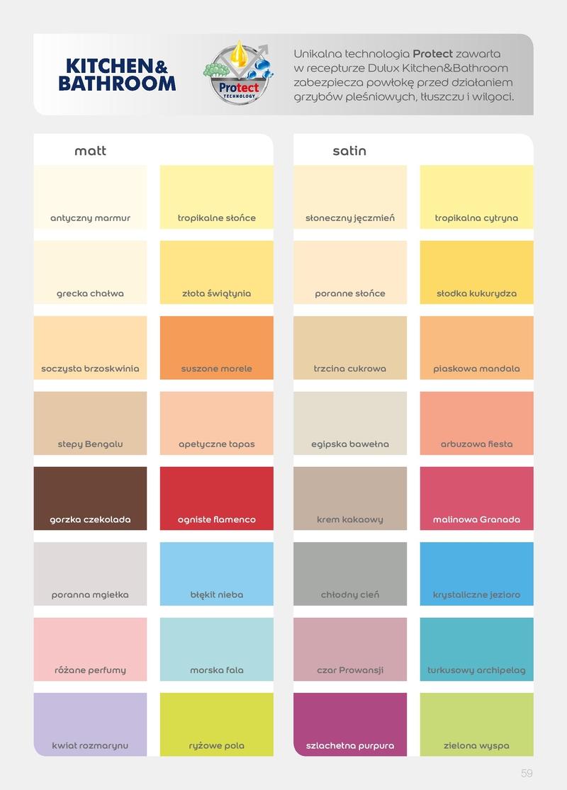 Unikalne Dulux Kuchnia i Łazienka Satin paleta 17 kolorów opak. 2,5l GD44